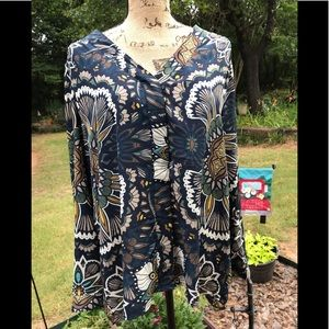 H&M Navy print blouse